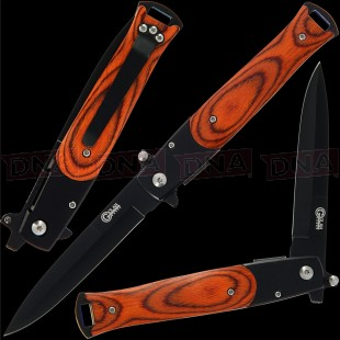 "Golan GOL-721WB 8.5"" Tactical Stiletto Lock Knife - Black Wood"