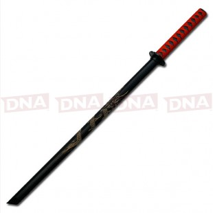 Hardwood-Bokken-sword-with-Red-Tsuka-ito