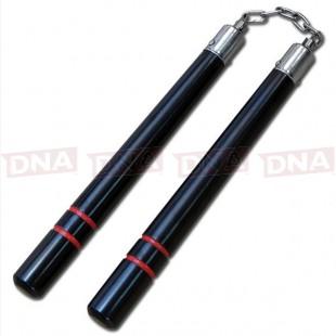 Hardwood Round Black Nunchaku - Red Stripe