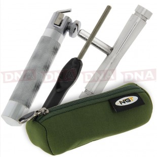 Hook Sharpener Vice with File, Knot Puller and Case