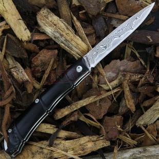 Komoran KO034 Bamboo Damascus Folding EDC Knife Closed