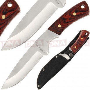 Anglo Arms Deluxe 9.75 Inch Wooden Handle Sheath Knife