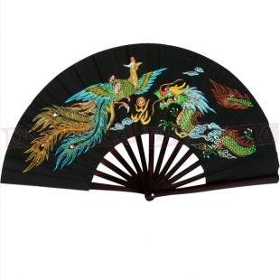 Metal Kung-Fu Fan - Black with Colourful Design