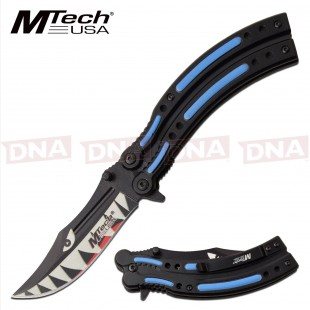 Spring Assisted MT-A1122BL Blue Shark Balisong STYLE Knife