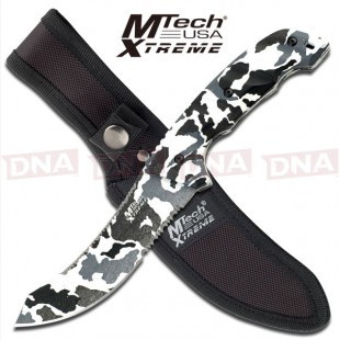 MTech Xtreme Upswept Clip Fixed Blade Knife - Winter Camo