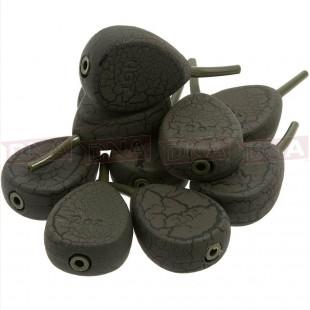 10 x Inline Flat Pear Textured Ledger Leads Weights Carp Fishing 1.5oz 2oz 2.5oz 3oz