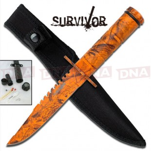 Orange Camo Survival Knife