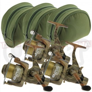 3x NGT Camo 60 Reels with Padded Cases