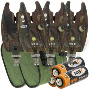 3x VC2 Camo Bite Alarms with Cases