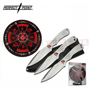 3pc Dragon Throwing Knife Set with Target