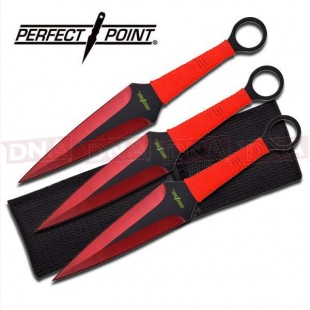 Perfect Point 3pc Red Kunai Throwing Set