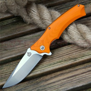 QSP Master Ball Bearing Assisted Knife - Orange Satin Open Pocket Clip