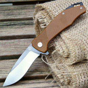 QSP Raven Recurved Bearing Assist Lock Knife - Brown
