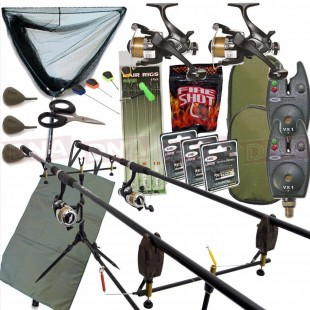 2 Rod Full Carp Fishing Set Up with Net (Set 23)