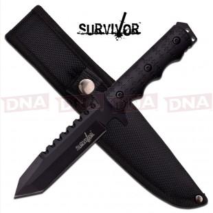 Survivor All Black Tactical Fixed Blade - Tanto