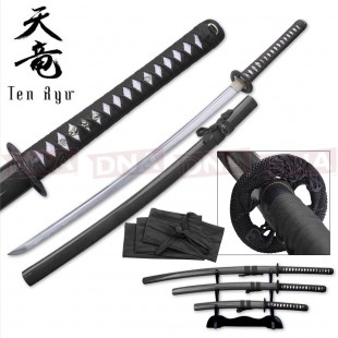 Ten Ryu Hand-Forged Black Katana Set