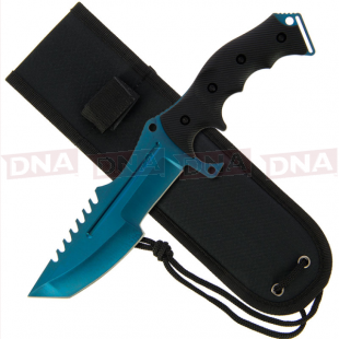 """Go! Huntsman Style 11"""" Fixed Blade Knife with Blue Skin with Sheath"""
