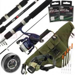 Compact Namazu Travel Set with 5ft Rod, Reel Case, Tackle and Headlight!