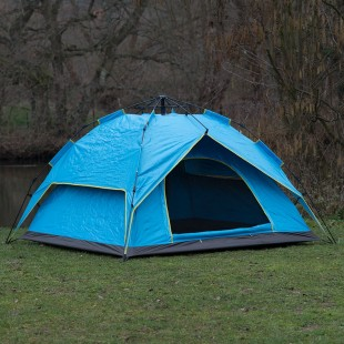 Pop Up Easy Assembly Camping / Survival Tent Blue Door Open