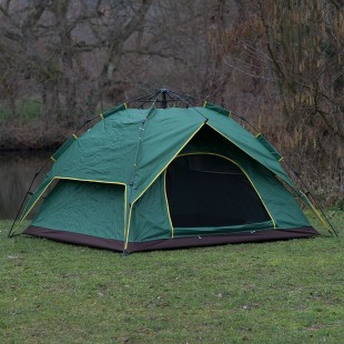 Pop Up Easy Assembly Camping / Survival Tent Green Door Open