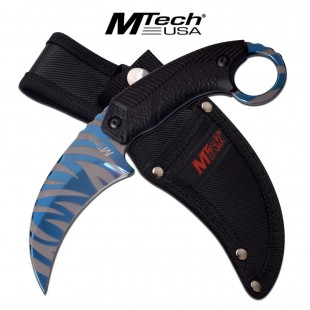 Blue Tiger Stripe Karambit Fixed Blade Knife