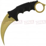 Gold Coated Fixed Blade Karambit & Sheath Open
