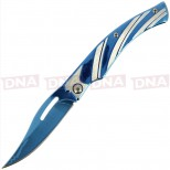 7cm Shiny Blue and Silver Non-Locking EDC Knife Open
