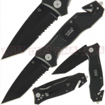 Anglo Arms Black folding Tanto + Glass Breaker and Cutter